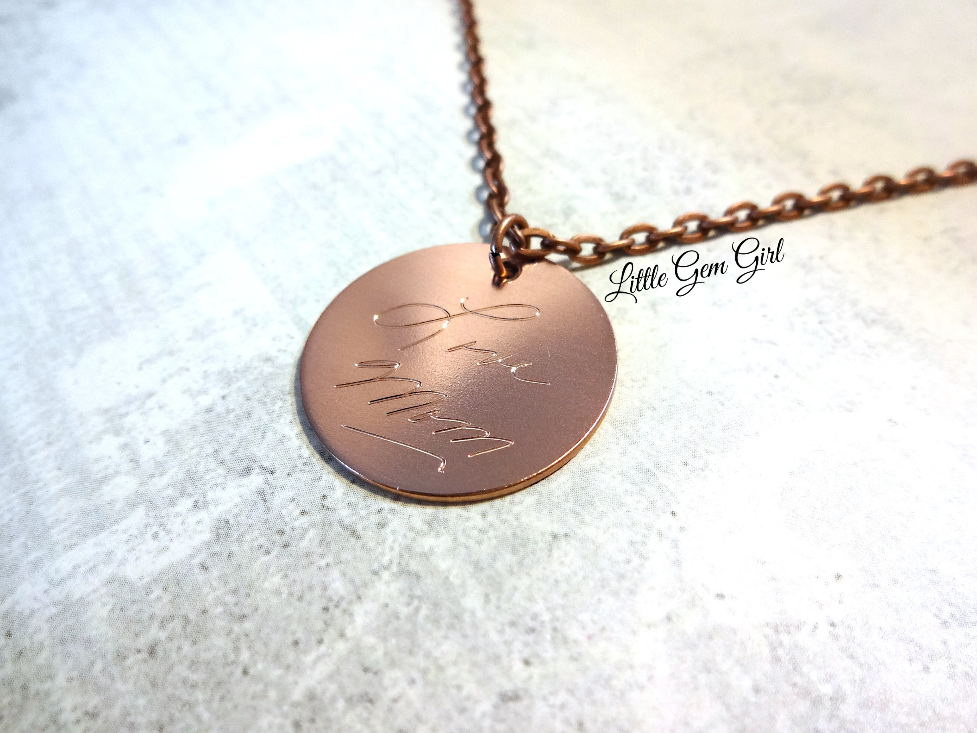 Engraved Custom Handwriting Necklace 1 Inch Copper Or