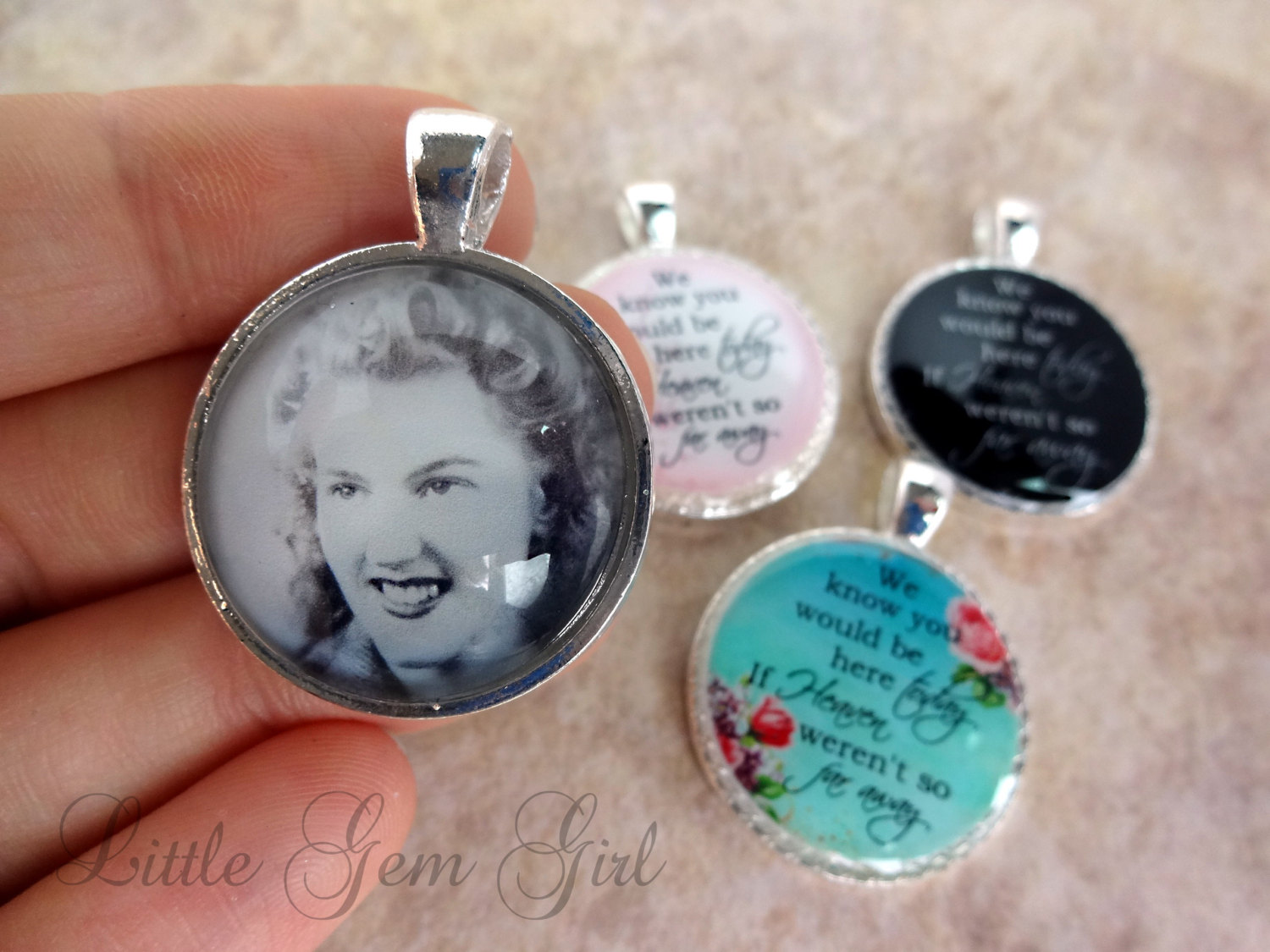Wedding Bouquet Photo Memorial Charm - Double Sided ...