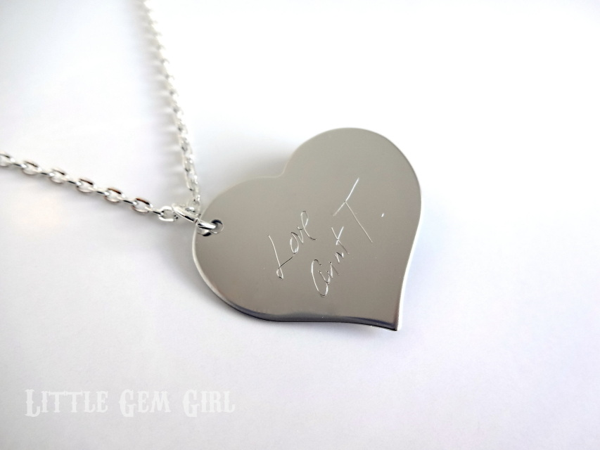 Engraved Custom Handwriting Necklace Personalized With