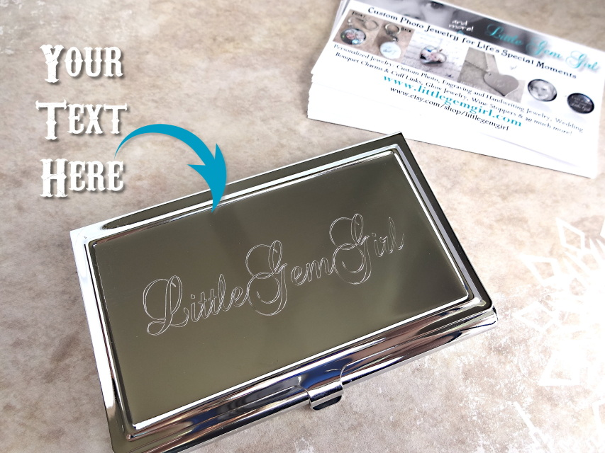 Custom Engraved Business Card Holder Personalized with