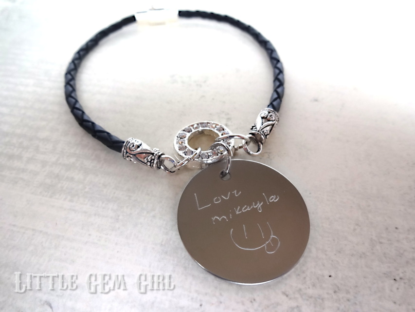 Custom Handwriting Bracelet Engraved Signature 3mm