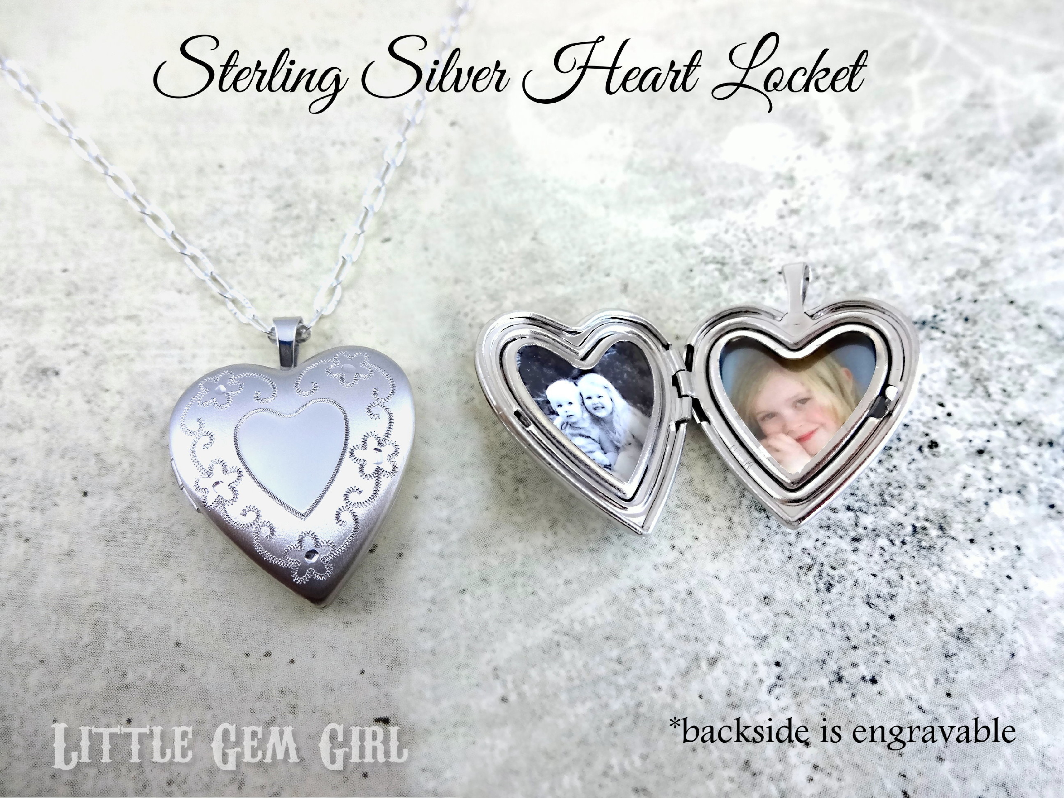 1b3673e300 Custom Photo Small Flower Heart Sterling Silver Locket w/ optional Engraving  on Front and Back - Picture Charm Necklace - In Memory Memorial Jewelry