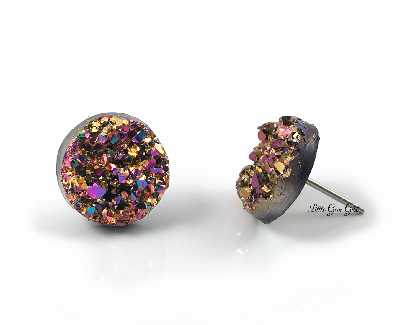cc9c15e43 8mm, 10mm or 12mm Magenta Rainbow Gold Druzy Stud Earrings with Titanium or  Surgical Stainless Steel Posts and Backings - Small Pink Glitter Earrings